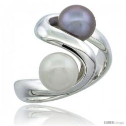 Sterling Silver Double Pearl Swirl Ring 5/8 in. (16 mm) wide