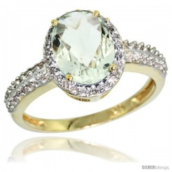 10k Yellow Gold Diamond Green-Amethyst Ring Oval Stone 9x7 mm 1.76 ct 1/2 in wide