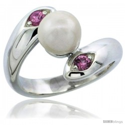 Sterling Silver Pink CZ Pearl Ring 19/32 in. (15 mm) wide