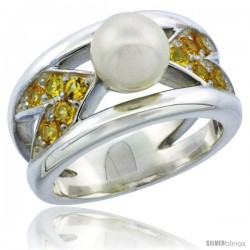 Sterling Silver Chevron Style Pearl Ring Band w/ Citrine-colored CZ Stones 7/16 in. (11.5 mm) wide