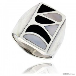 "Sterling Silver High Polish Shell Ring, w/ Black & White Mother of Pearl Inlay, 7/8"" (23 mm) wide"