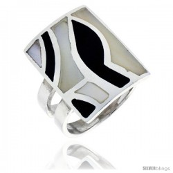 "Sterling Silver Rectangular Shell Ring, w/Black & White Mother of Pearl Inlay, 15/16"" (24 mm) wide"