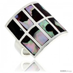 "Sterling Silver Square-shaped Shell Ring, w/Colorful Mother of Pearl Inlay, 7/8"" (22 mm) wide"