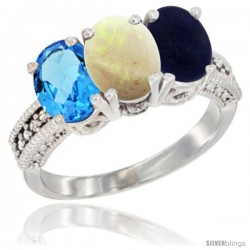 14K White Gold Natural Swiss Blue Topaz, Opal & Lapis Ring 3-Stone 7x5 mm Oval Diamond Accent