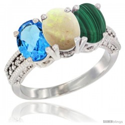 14K White Gold Natural Swiss Blue Topaz, Opal & Malachite Ring 3-Stone 7x5 mm Oval Diamond Accent