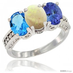 14K White Gold Natural Swiss Blue Topaz, Opal & Tanzanite Ring 3-Stone 7x5 mm Oval Diamond Accent
