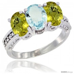 10K White Gold Natural Aquamarine & Lemon Quartz Sides Ring 3-Stone Oval 7x5 mm Diamond Accent