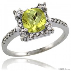 10k White Gold Diamond Halo Lemon Quartz Ring 1.2 ct Checkerboard Cut Cushion 6 mm, 11/32 in wide