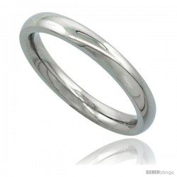 Surgical Steel 3mm Domed Wedding Band Thumb / Toe Ring Comfort-Fit High Polish