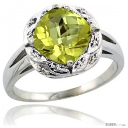 10k White Gold Diamond Halo Lemon Quartz Ring 2.7 ct Checkerboard Cut Cushion Shape 8 mm, 1/2 in wide