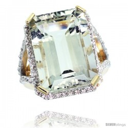 10k Yellow Gold Diamond Green-Amethyst Ring 14.96 ct Emerald shape 18x13 Stone 13/16 in wide