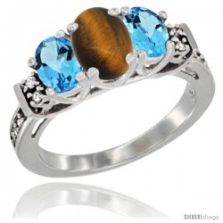 14K White Gold Natural Tiger Eye & Swiss Blue Topaz Ring 3-Stone Oval with Diamond Accent