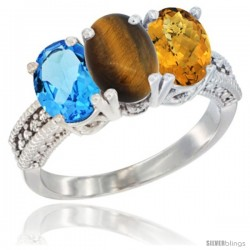 14K White Gold Natural Swiss Blue Topaz, Tiger Eye & Whisky Quartz Ring 3-Stone 7x5 mm Oval Diamond Accent