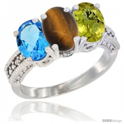 14K White Gold Natural Swiss Blue Topaz, Tiger Eye & Lemon Quartz Ring 3-Stone 7x5 mm Oval Diamond Accent