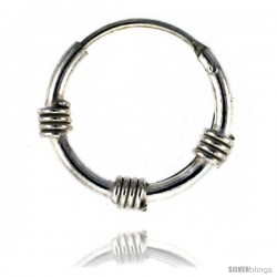 Sterling Silver Bali Style Endless Hoop Earrings for ears, Nose and lips 1/2 in round