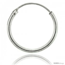 Sterling Silver Endless Hoop Earrings for men and women, thin 1 mm tube 1/2 in round