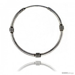Sterling Silver Bali Style Endless Hoop Earrings, thin 1 mm tube 1 in round