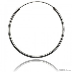 Sterling Silver Endless Hoop Earrings, thin 1 mm tube 1 3/8 in round
