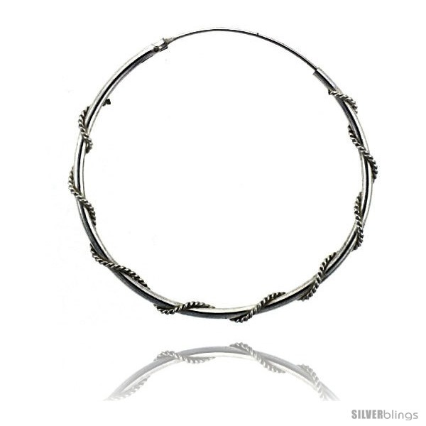Sterling Silver Rope Wire Wrapped Endless Hoop Earrings, 1 mm thin ...