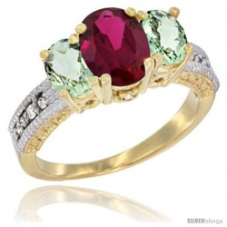 10K Yellow Gold Ladies Oval Natural Ruby 3-Stone Ring with Green Amethyst Sides Diamond Accent