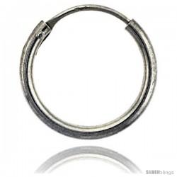 Sterling Silver Endless Hoop Earrings, 2 mm tube 5/8 in round