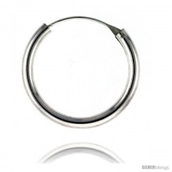 Sterling Silver Thick Endless Hoop Earrings, thick 3 mm tube 1 1/4 in round