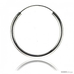 Sterling Silver Endless Hoop Earrings, thick 3 mm tube 1 1/2 in round