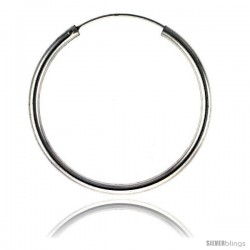 Sterling Silver Endless Hoop Earrings, thick 3 mm tube 1 3/4 in round