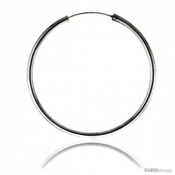 Sterling Silver Endless Hoop Earrings, thick 3 mm tube 2 3/8 in round