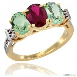 10K Yellow Gold Natural Ruby & Green Amethyst Sides Ring 3-Stone Oval 7x5 mm Diamond Accent