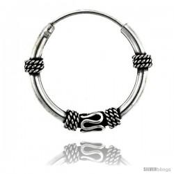 """Sterling Silver Medium Bali Hoop Earrings, 15/16"""" diameter -Style Heb15"""