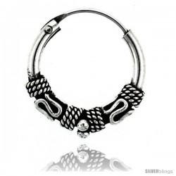 """Sterling Silver Small Bali Hoop Earrings, 5/8"""" diameter"""