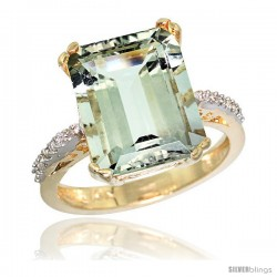 10k Yellow Gold Diamond Green-Amethyst Ring 5.83 ct Emerald Shape 12x10 Stone 1/2 in wide