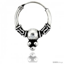 "Sterling Silver Small Bali Hoop Earrings, 9/16"" diameter -Style Heb19"