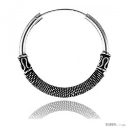 "Sterling Silver Large Bali Hoop Earrings, 1 9/16"" diameter -Style Heb2"