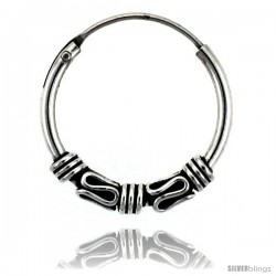 """Sterling Silver Small Bali Hoop Earrings, 3/4"""" diameter"""