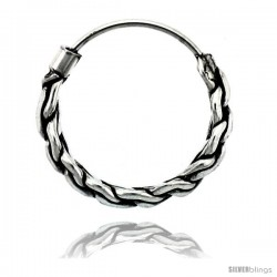 "Sterling Silver Small Bali Hoop Earrings, 5/8"" diameter -Style Heb26"