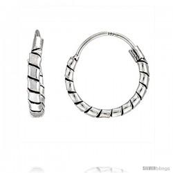 "Sterling Silver Small Bali Hoop Earrings, 1/2"" diameter -Style Heb31"