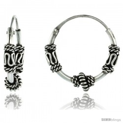 "Sterling Silver Small Bali Hoop Earrings, 9/16"" diameter -Style Heb36"