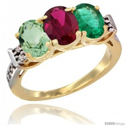 10K Yellow Gold Natural Green Amethyst, Ruby & Emerald Ring 3-Stone Oval 7x5 mm Diamond Accent