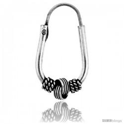 """Sterling Silver Oval Bali Hoop Earrings, 7/8"""" (22 mm)"""