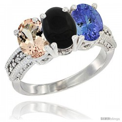 14K White Gold Natural Morganite, Black Onyx & Tanzanite Ring 3-Stone Oval 7x5 mm Diamond Accent
