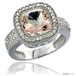 14k White Gold Ladies Natural Morganite Ring Diamond Accent, Cushion-cut 4 ct. 8x8 Stone Diamond Accent