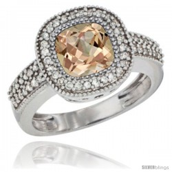 14k White Gold Ladies Natural Morganite Ring Cushion-cut 3.5 ct. 7x7 Stone Diamond Accent