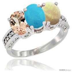 14K White Gold Natural Morganite, Turquoise & Opal Ring 3-Stone Oval 7x5 mm Diamond Accent