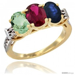 10K Yellow Gold Natural Green Amethyst, Ruby & Blue Sapphire Ring 3-Stone Oval 7x5 mm Diamond Accent