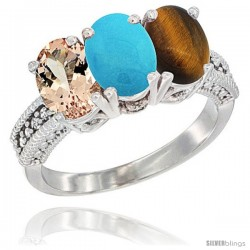 14K White Gold Natural Morganite, Turquoise & Tiger Eye Ring 3-Stone Oval 7x5 mm Diamond Accent