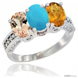 14K White Gold Natural Morganite, Turquoise & Whisky Quartz Ring 3-Stone Oval 7x5 mm Diamond Accent
