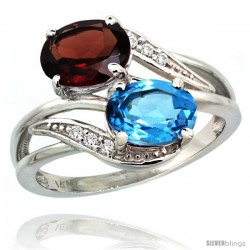 14k White Gold ( 8x6 mm ) Double Stone Engagement Swiss Blue Topaz & Garnet Ring w/ 0.07 Carat Brilliant Cut Diamonds & 2.34