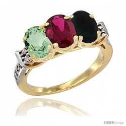 10K Yellow Gold Natural Green Amethyst, Ruby & Black Onyx Ring 3-Stone Oval 7x5 mm Diamond Accent